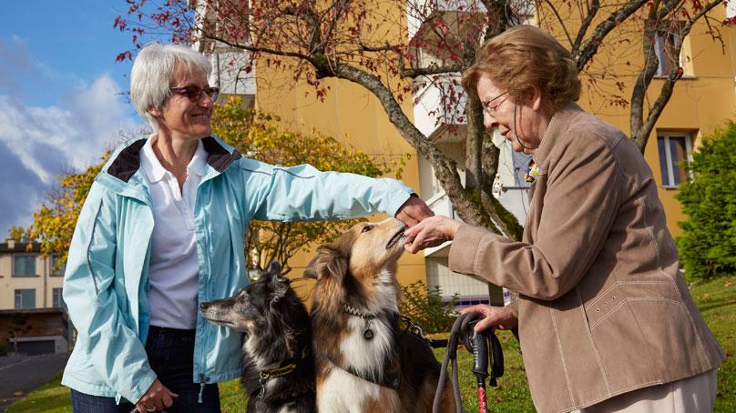 Zwei ältere Frauen mit zwei Hunden