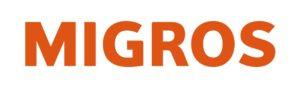 Schriftzug Logo Migros in orange