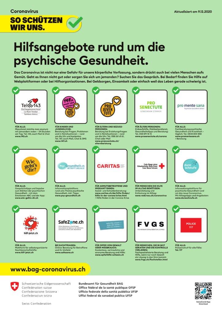 BAG Infoplakat Hilfsangebote Psychische Gesundheit mit Piktogrammen