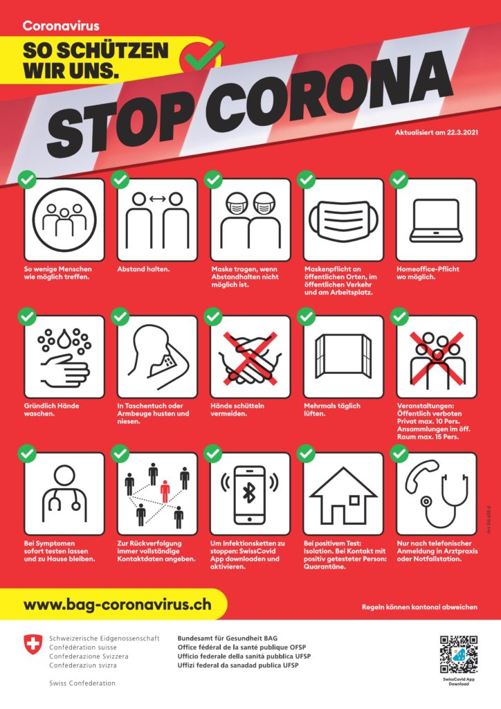 BAG Plakat Piktogramme mit Schutzmassnahmen Corona